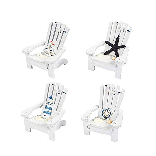4 x Nautical Theme Wooden Beach Chair Decor Small Decoration for Table Centerpiece 3.5 x 3.75 x 4 inches