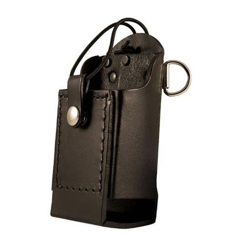 Boston Leather Firefighters Radio Holder with D-Rings /& Elastic Strap