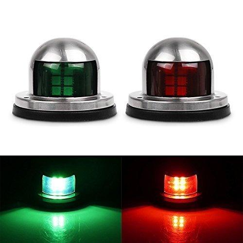 DDSKY Boat Navigation Lights 12V Stainless Steel Marine Yacht Lights LED Bow Side Lights Pontoons Sailing Signal Lights One Pair (Red&Green)