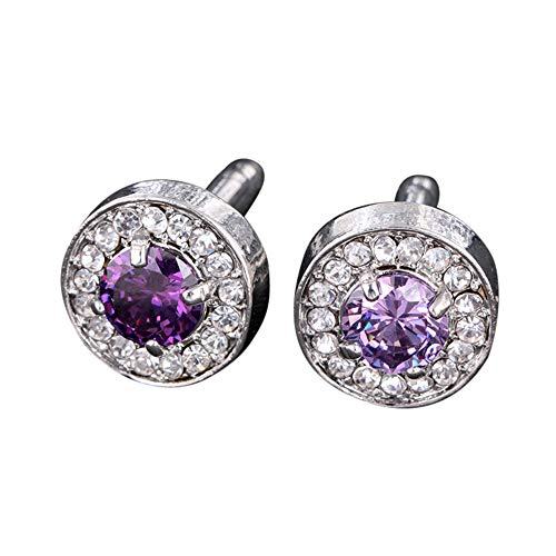 Celendi Men's Sleeve Crystal Glass Jeweled Sleeve Button Shirt Sleeve Button (B)