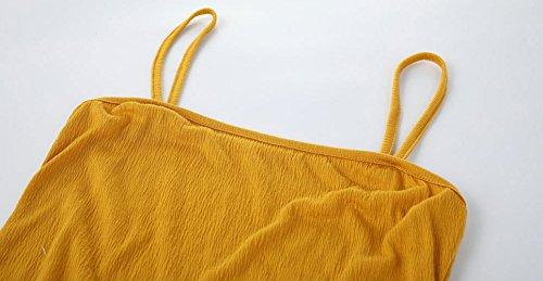 Partido Vestidos Amarillo Halter Delgado Bodycon Sexy Vestido Verano Tirantes Mujer Corto Coctel Fiesta de Colores Mini Lápiz Lisos Vestidos wwUqOYv7