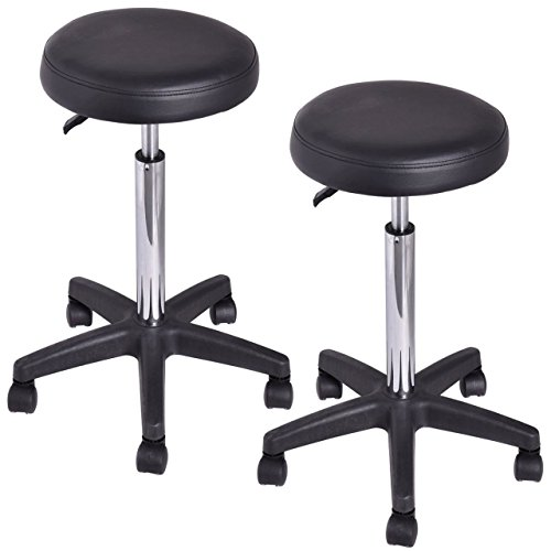 Set of 2 New Adjustable Hydraulic Rolling Swivel Bar Stool Massage Spa Beauty Salon Seat/ Black #677