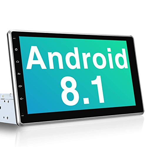 PUMPKIN 10.1 Inch Android 8.1 Car Stereo Single Din with GPS, WiFi, Support Backup Camera, 128GB USB, Android Auto, Detachable IPS Touch Screen, 1 Din 2 Din Universal