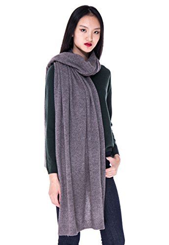 Scarf Cashmere Ribbed (100% Cashmere Wrap Shawl Stole Extra Large Scarf -by cashmere 4 U (Fossil))