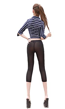 ec5b283fbe867d LinvMe Women's Sexy See Through Cropped Leggings Tight Pants S Black