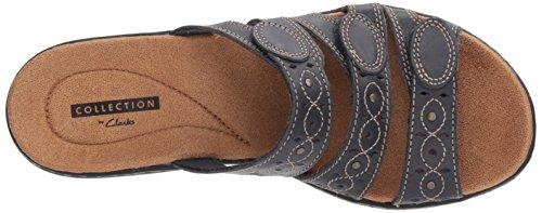 Sandals Leisa leather Clarks navy Cacti Women's Flat Q 5XS7xwp7q
