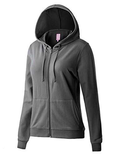 Regna X Women's Long Sleeve Casual Pullover Full Zip Hoodie Grey M by Regna X (Image #5)