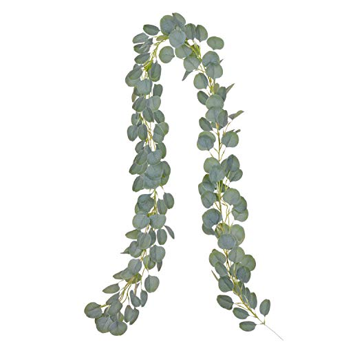 Artiflr Artificial Eucalyptus Garland Faux Silk Eucalyptus Leaves Vines Handmade Garland Greenery Wedding Backdrop Arch Wall Decor