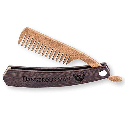 Wooden Beard Comb for Men. Folding Pocket Comb for Moustache, Beard &...