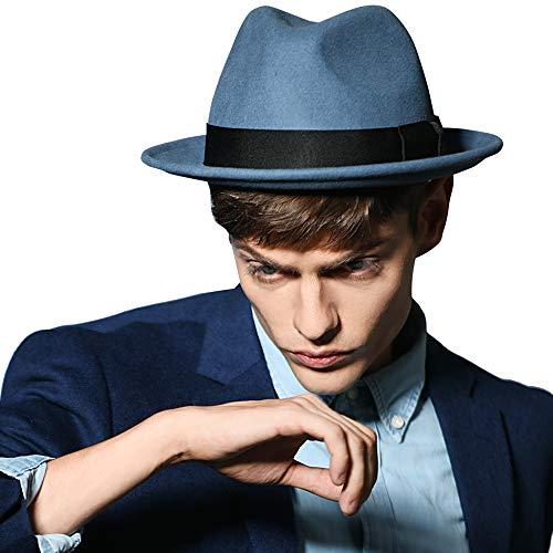 Erigaray Men's 100% Pure Wool Classic Manhattan Trilby Dress Fedora Hats Blue ()