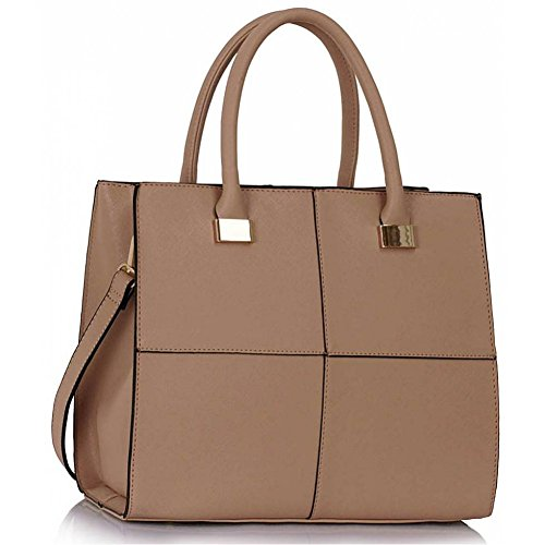 Large Bags Designer 153 Check Faux Genuine Large Size LeahWard Bag Large Nude Tote Shoulder Leather Women's wOP47WfqS8