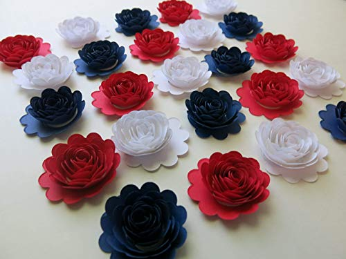 (24 Red White and Navy Blue Carnations, 1.5 Inch Scalloped Paper Flower Roses, Patriotic USA Decorations)