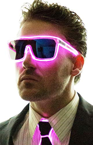 Neon Nightlife Pink Frame/Tinted Single Lens Tron Style Light Up -