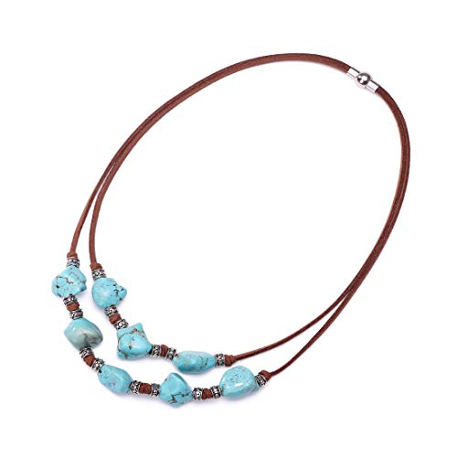 """Yunhan Pearls 2 Strands Genuine Suede Cord Turquoise Choker Necklace Magnetic Clasp Jewelry Women 16"""""""