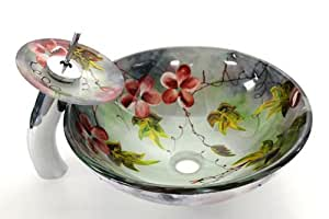 New Flower Style Hand Paint Bathroom Tempered Glass Vessel Sink, Chrome Finish Matching Glass Tray Waterfall Faucet & Drain Combo Set