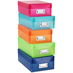 Whitmor Plastic Organizer Boxes Assorted Colors Set of 5