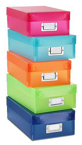 Whitmor Plastic Organizer Boxes Assorted Colors Set of 5 (Plastic Organizer 5 Boxes)