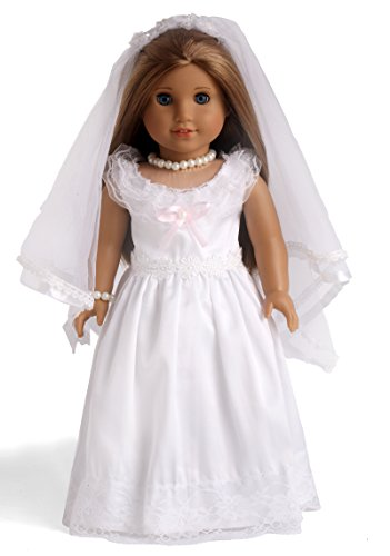 (White Wedding Dress First Communion Dress Doll Clothes for 18