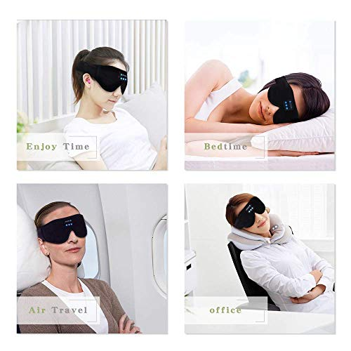 Sleep Headphones, Bluetooth 5.0 Wireless 3D Eye Mask, Lightimetunnel Washable Sleeping Headphones for Side Sleepers With Adjustable Ultra Thin Stereo Speakers Microphone Hands Free for Insomnia Travel
