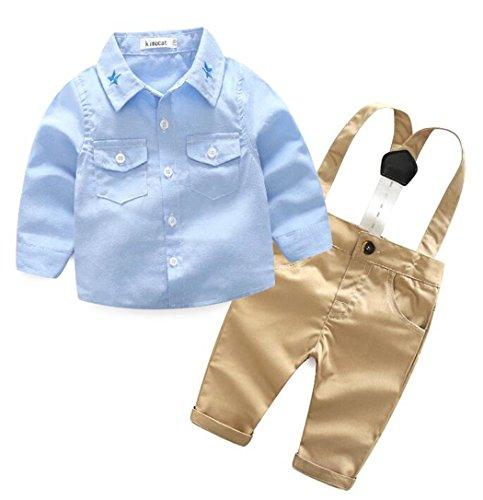Bib Pants Shirt (2Pcs Baby Boys Gentleman Bowtie Shirt Denim Bib Pants Overall Outfit Set Size 0-6 Months/Tag70 (Blue))