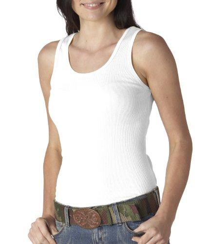 Bella Ladies Combed Ringspun Cotton 2x1 Rib Tank Top - White - XX - Large