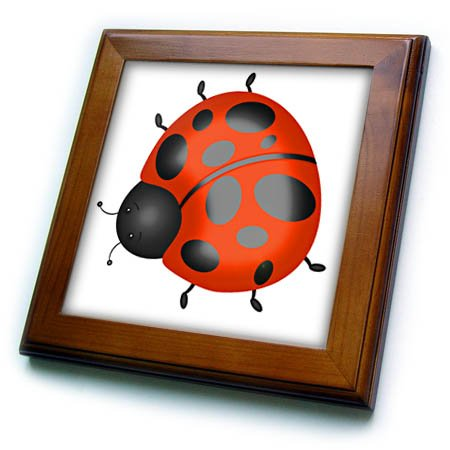 3dRose Anne Marie Baugh - Illustrations - Cute Orange and Black Ladybug Illustration - 8x8 Framed Tile (Ladybug Framed Tile)