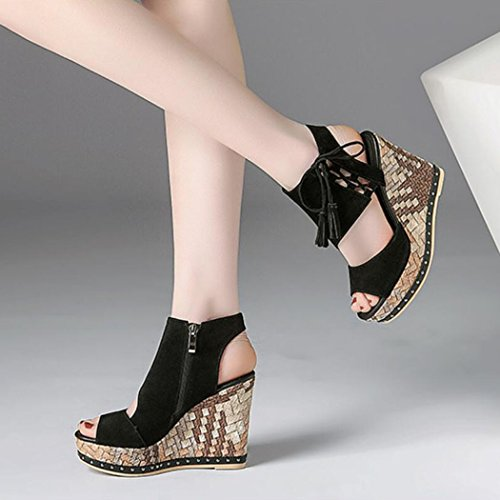 Roman Wedges Womens Leather GAOLIXIA Heels Open Pumps Shoes Ladies Summer Platform Black Toe Real Vintage High Scrub Tassel Fashion Sandals daTCxT