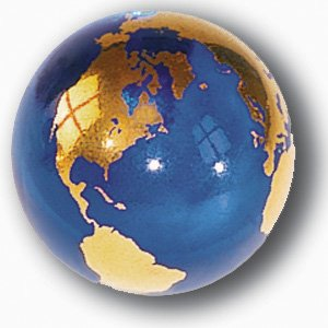 - Blue Earth Marble With 22k Gold Continents, Recycled Glass, 1 Inch Diameter