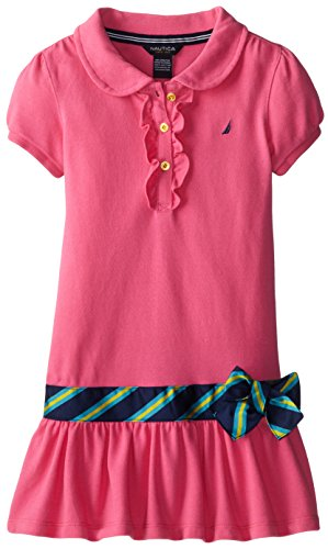 Nautica Little Girls' Pique Polo Dress with Gold Buttons, Pink, 6 (Dress Girl Polo)