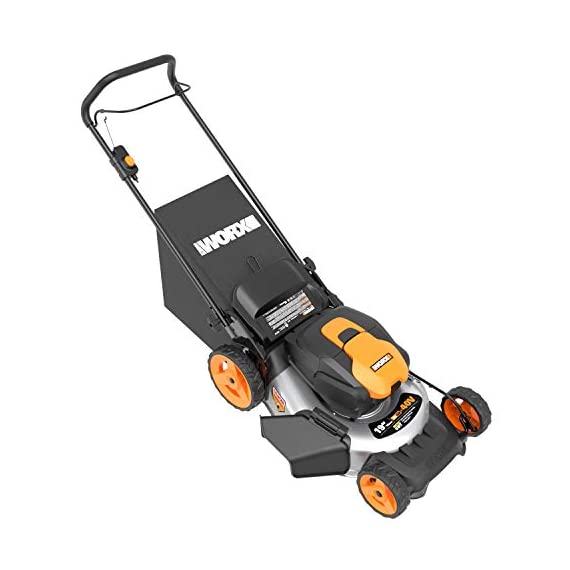 "WORX WG751 40V 19'' Cordless Lawn Mower, 2 Batteries & Charger Included, Black and Orange 3 Our 20"" 40V PowerShare mower comes with 2 rechargeable 20V 5.0Ah batteries that deliver 40V of rugged mowing power Steel makes all the difference. It lasts longer and performs better on undulating terrain. And with 20"" of it, you'll make fewer passes on your lawn Worx Power Share is compatible with all Worx 20v and 40v tools, outdoor power and lifestyle products"