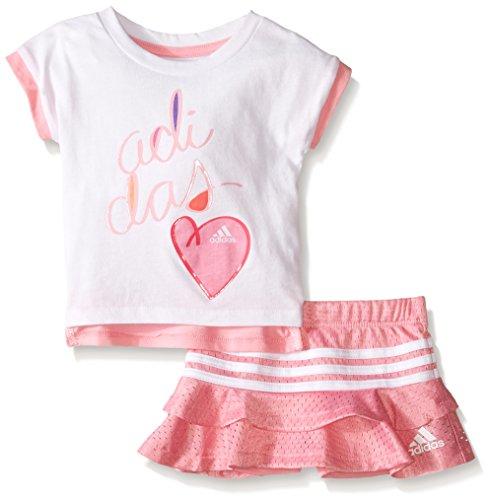 adidas Baby Girls' Top and Skort Set, White, 3 Months
