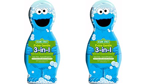 Sesame Street Cookie Monster Extra Sensitive 3-in-1 Body Wash, Shampoo and Conditioner (Pack of 2) -