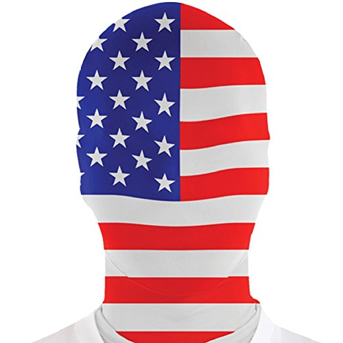 USA Flag Morph Mask Adult America Official Morphmask Morphsuit Full Face Mask - America Morphsuit