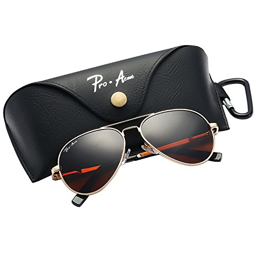 Pro Acme Small Polarized Aviator Sunglasses for Kids and Youth Age 5-18 (Gold Frame/Brown Lens) ()