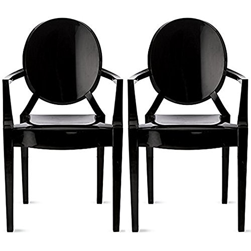 (2xhome Set of Two (2) Black - Louis Style Ghost Armchair Dining Room Chair - Lounge Arm Arms Armed Chairs Armchairs Accent Seat Higher Fine Modern Mid Century Designer)