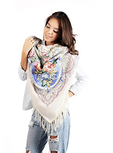 RUSSIAN shawl LJUBOV white and blue - floral scarf 100% wool - white - 100% Original - made in Russia - luxurious by À LA RUSSE