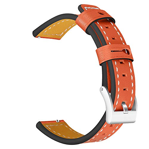 - Insaneness Pure Colour Genuine Leather Band Wrist Strap for Samsung Galaxy Watch (Orange, 42MM)