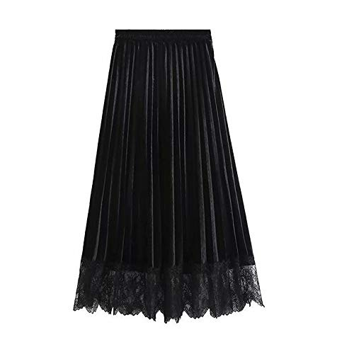 Black Women's midi Swing Skirts  Solid colord