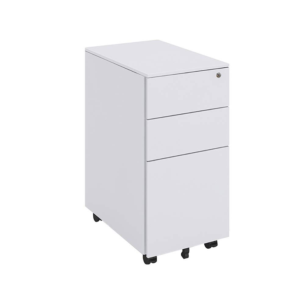 RRH-3 Drawer Metal Moving File Cabinet with Lock, Casters Fully Assembled, Home Open Storage Shelves (Color : White) by RRH