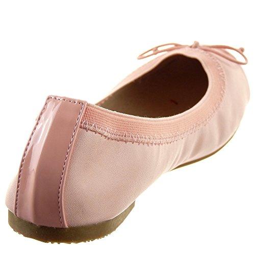 Sopily - Zapatillas de Moda Bailarinas Flexible Tobillo mujer nodo Talón Tacón ancho 1 CM - Rosa
