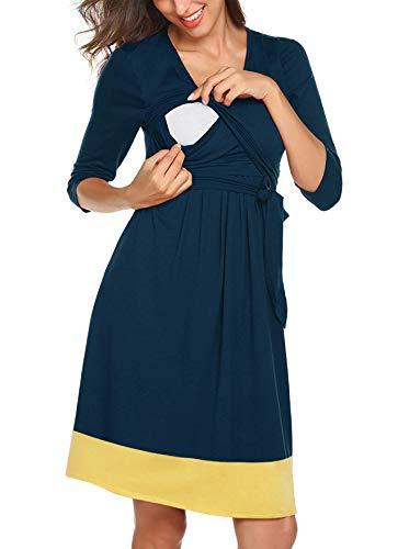 Larenba Womens 3 4 Sleeve Ruched Maternity Front Tie Nursing Friendly Dress
