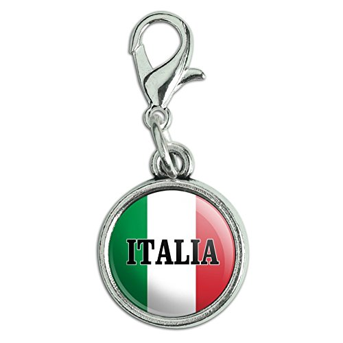 GRAPHICS & MORE Italia Italy Italian Flag Antiqued Bracelet Pendant Zipper Pull Charm with Lobster Clasp