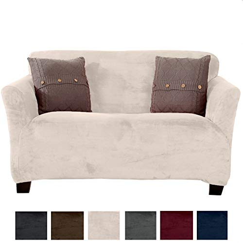 Great Bay Home Modern Velvet Plush Strapless Slipcover. Form Fit Stretch, Stylish Furniture Cover/Protector. Gale Collection Brand. (Loveseat, Silver Cloud)