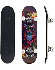 Skateboards for Beginners, Upgraded Complete Standard Skateboards 31 x 7.88, 7 Layers Canadian Maple Double Kick Concave Skateboards Tricks for Kids Youths Teens Men and Women