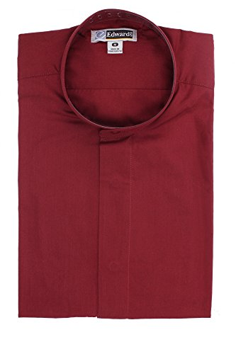 Ed Garments Men's Big And Tall Banded Collar Long Sleeve Shirt, BURGUNDY, L Tall