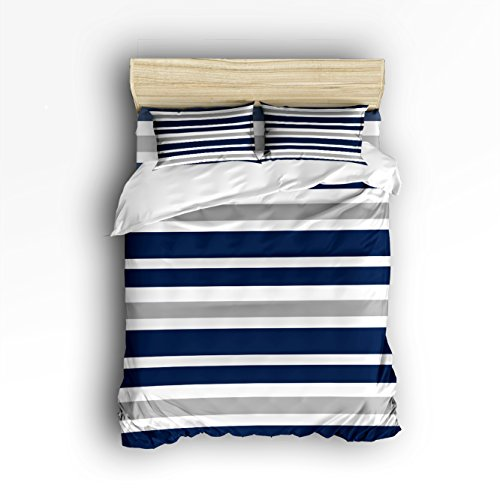 134 Cotton Cover ((4 Pieces),Comfortable Soft Brushed Cotton,Duvet Cover Flat Sheet And 2 Pillowcases, Navy Blue, Gray and White Kids Teen Stripe Queen Size)