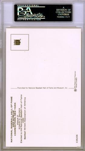 Duke Snider Authentic Autographed Signed HOF Plaque Postcard #83963989 PSA/DNA Certified MLB Cut Signatures