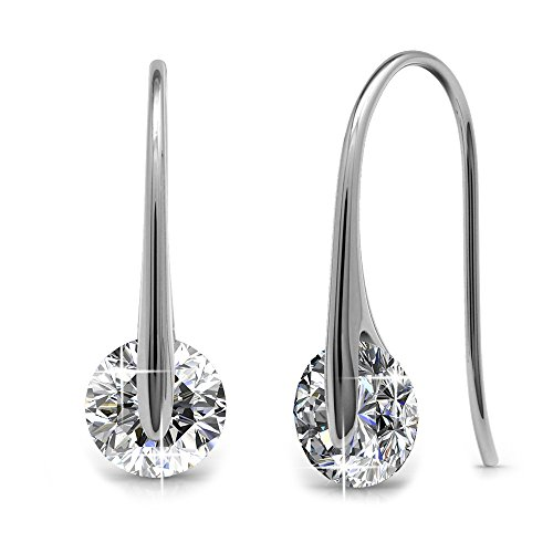 Cate & Chloe McKayla 18k White Gold Swarovski Earrings, Classic Drop Dangle-Earrings, Best Silver Earrings for Women, Special-Occasion Jewelry, Solitaire Earrings with Swarovski Crystals MSRP (Gold Designer Earrings)