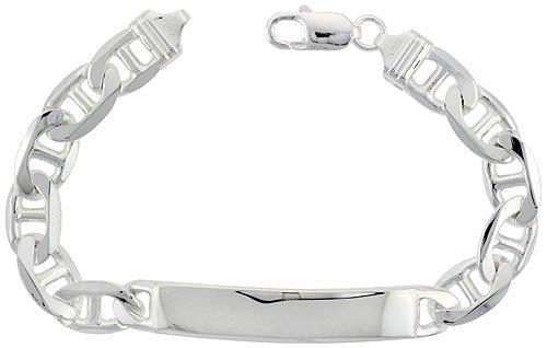 Sterling Silver Italian ID Bracelet Mariner Link 3/8 inch wide NICKEL FREE, 7 inch by Sabrina Silver