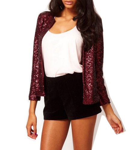 WIIPU Women blazer with sequin(J117) (M, purple)